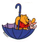 Pooh and Piglet sharing an umbrella